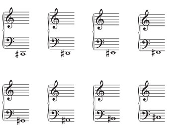 Grand Staff Music Flash Cards: Sharps page 1