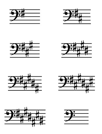 Key Signature Bass Clef Flash Cards page 1