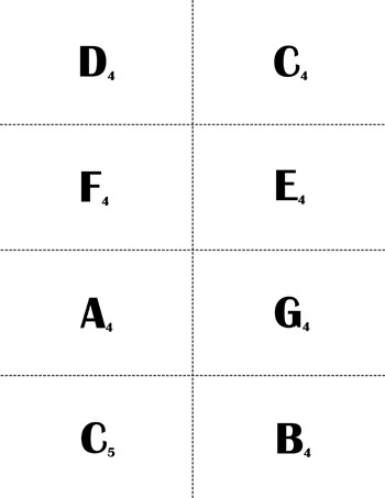 Treble Clef Music Flash Cards: C4 - C6 page 1 backside