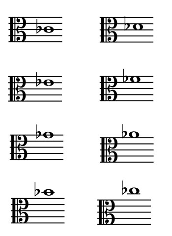 Alto Clef Music Flash Cards: Flats page 2