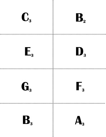 Alto Clef Music Flash Cards: Naturals page 1 backside