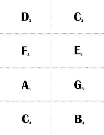 Bass Clef Music Flash Cards: Naturals page 2 backside