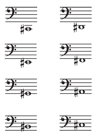 Bass Clef Music Flash Cards: Sharps page 1