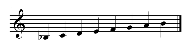 Construct Bb major scale