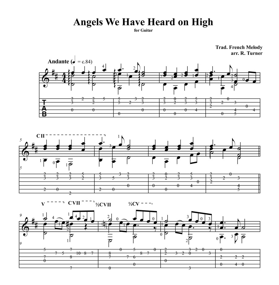 Angels We Have Heard Tablature example