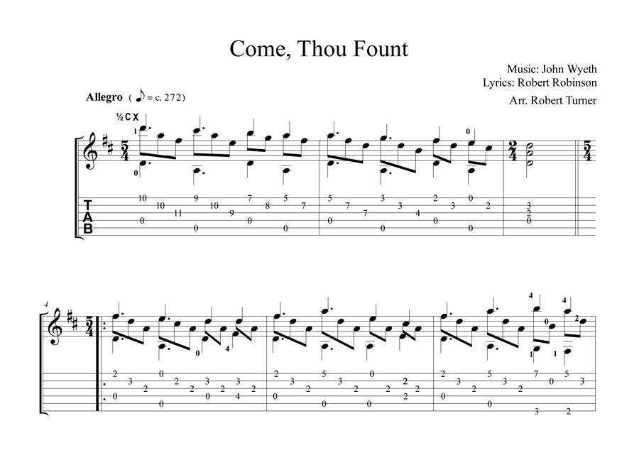 Come Thou Fount Tablature