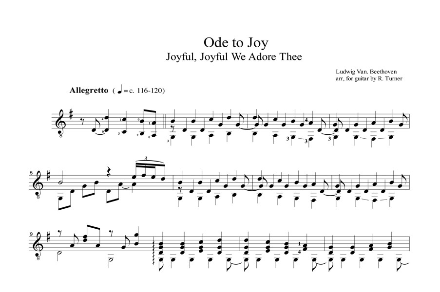 Ode to Joy Notation example