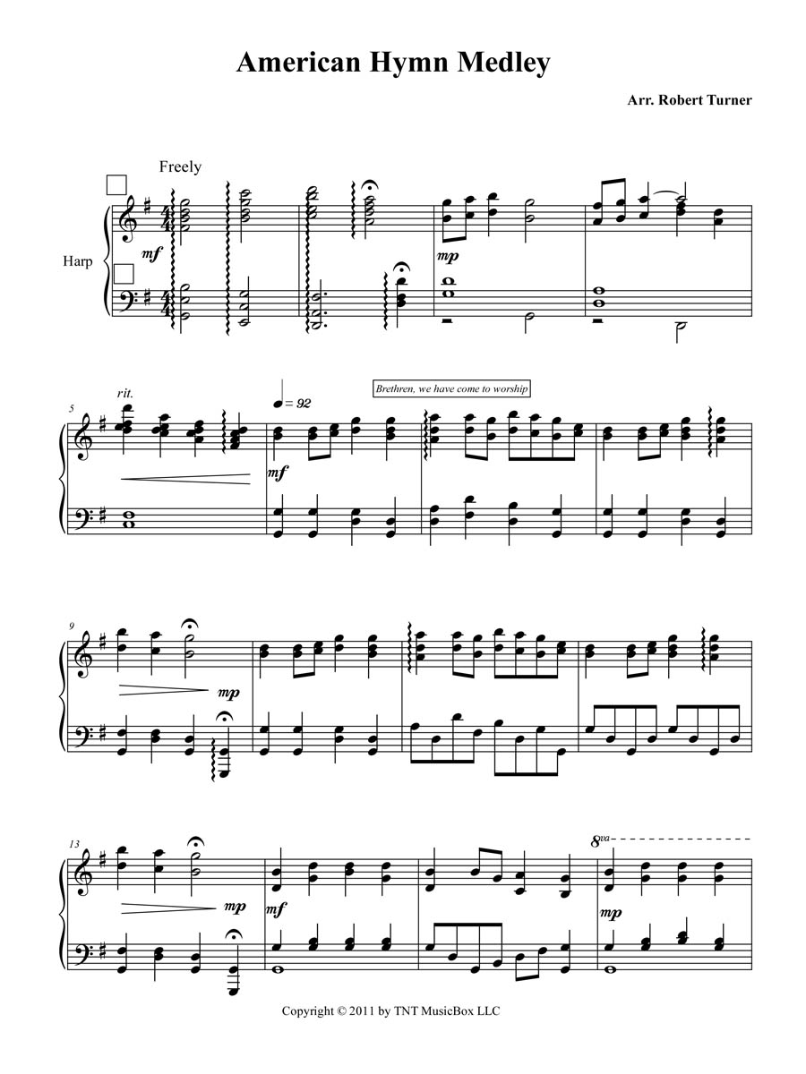 Americana Hymn Medley for Harp page 1 sheet music