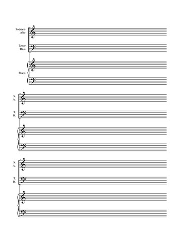 Choir sheet music blank template- SATB on 2 lines and piano title page