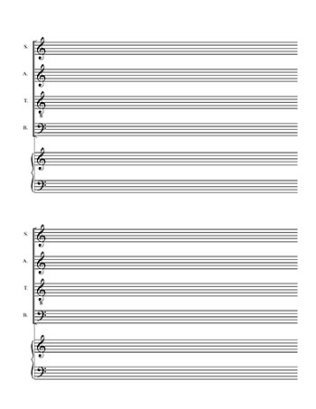 Choral Sheet music blank template: SATB choir on 4 lines and piano page 2