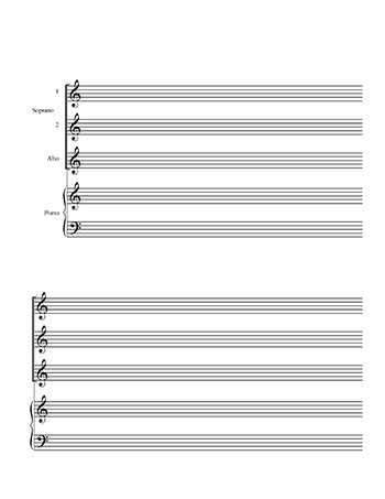 Choir Blank sheet music template: SSA and Piano title page