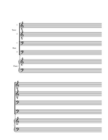 Blank Sheet Music: TTBB Choir and Piano title page