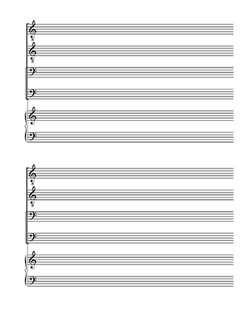 Blank Sheet Music: TTBB Choir and Piano page 2