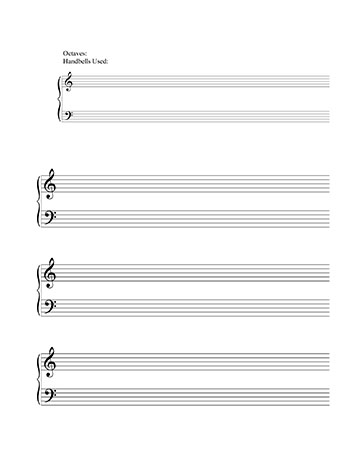 Awesome Handbell Grand Staff Blank Template Title Page