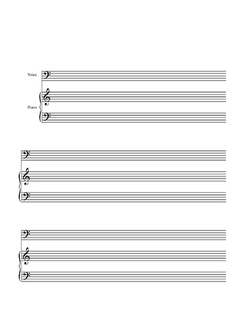 Blank sheet music template for bass voice and piano title page