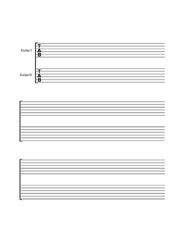 Two Guitar Tablature template title page