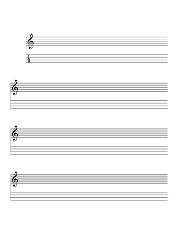 Mandolin notation and Tablature template page 1