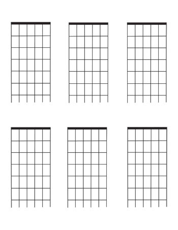 Guitar Fretboard diagrams: Six Fret blank template 6 per page