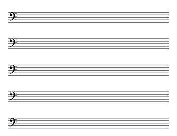 Blank Sheet Music: Landscape, Kid size bass clef page 2