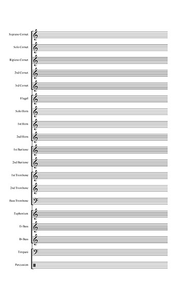 Blank Sheet Music: Brass Band template title page