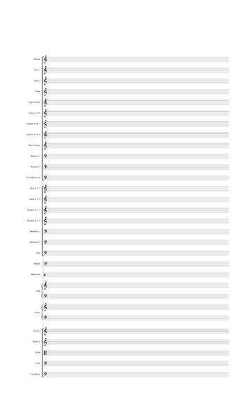 Blank Sheet Music: Full Orchestra template title page