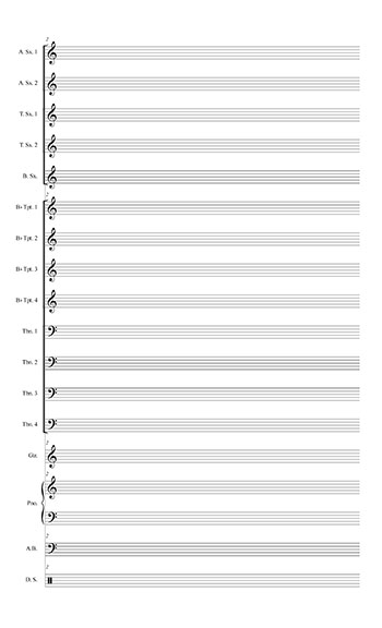 Blank Sheet Music: Jazz Ensemble template page 2