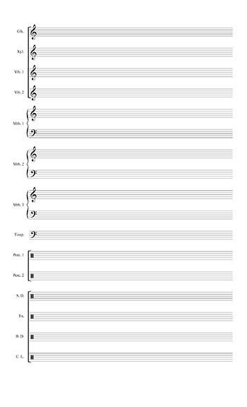 Blank Sheet Music: Marching Percussion template page 2