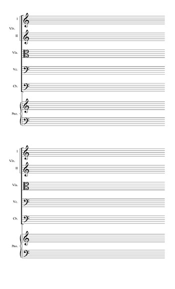 Blank Sheet Music: Strings and Piano page 2