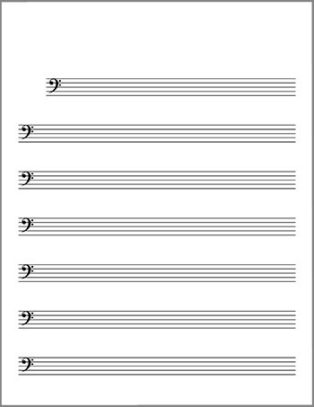 Bass clef blank lead sheet title page