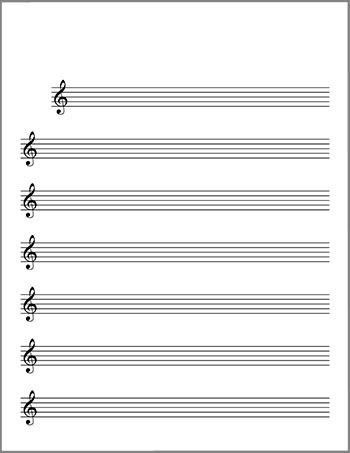 Blank Sheet Music: Lead Sheet, 7 Staves, Treble Clef
