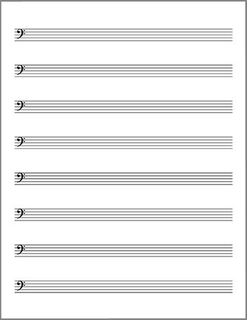Bass clef lead sheet blank template page 2