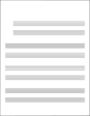 Lead Sheet blank template staves grouped by twos title page