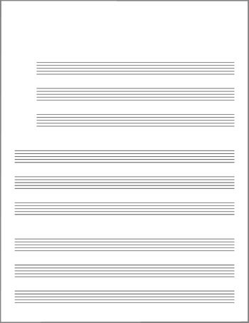 Blank lead sheet template stave grouped by threes title page