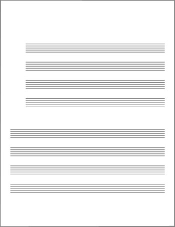 Blank lead sheet template staves grouped by fours title page