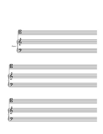 Blank Sheet Music: Piano and Tenor Clef template title page