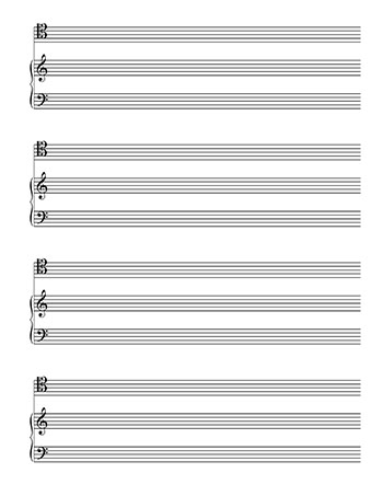 Blank Sheet Music: Piano and Tenor Clef template page 2