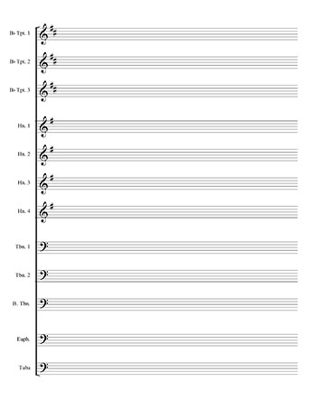 Jazz band blank sheet music template page 2