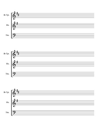 Brass trio blank sheet music template page 2