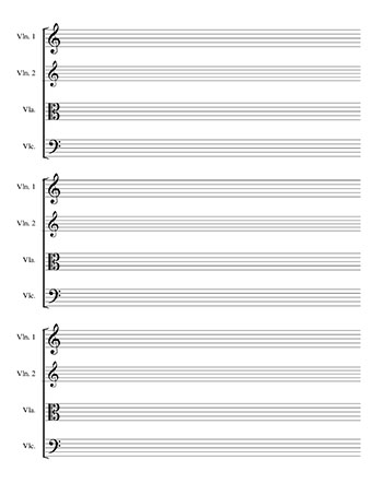 blank sheet music string quartet