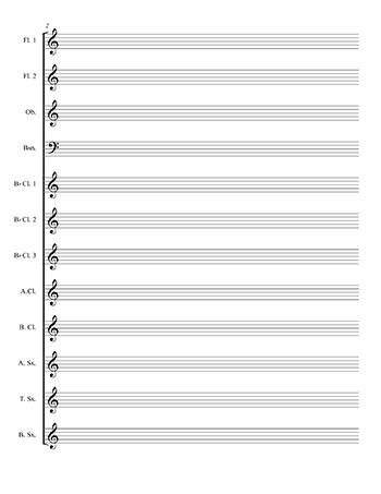 Wind Choir blank sheet music template page 2