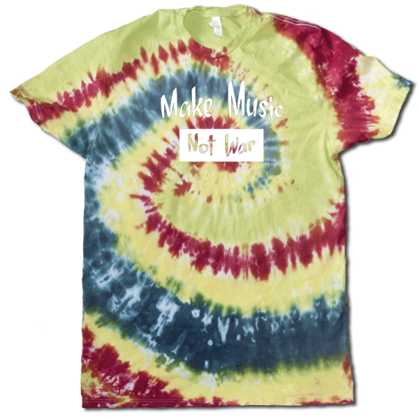 Make Music Not War Mens tie dye Large