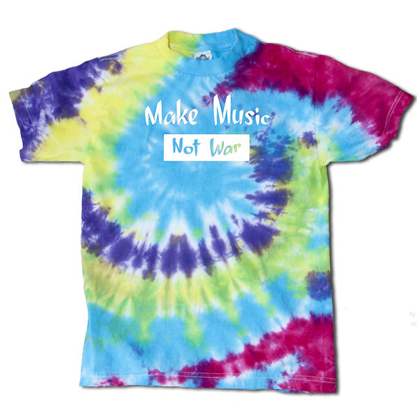 Make Music Not War Mens tie dye small