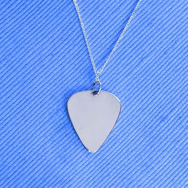 silver guitar pick necklace