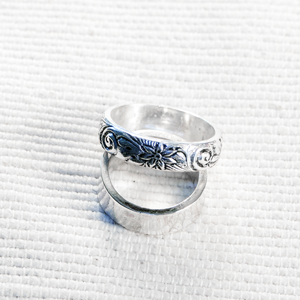 6mm silver patterned flower ring